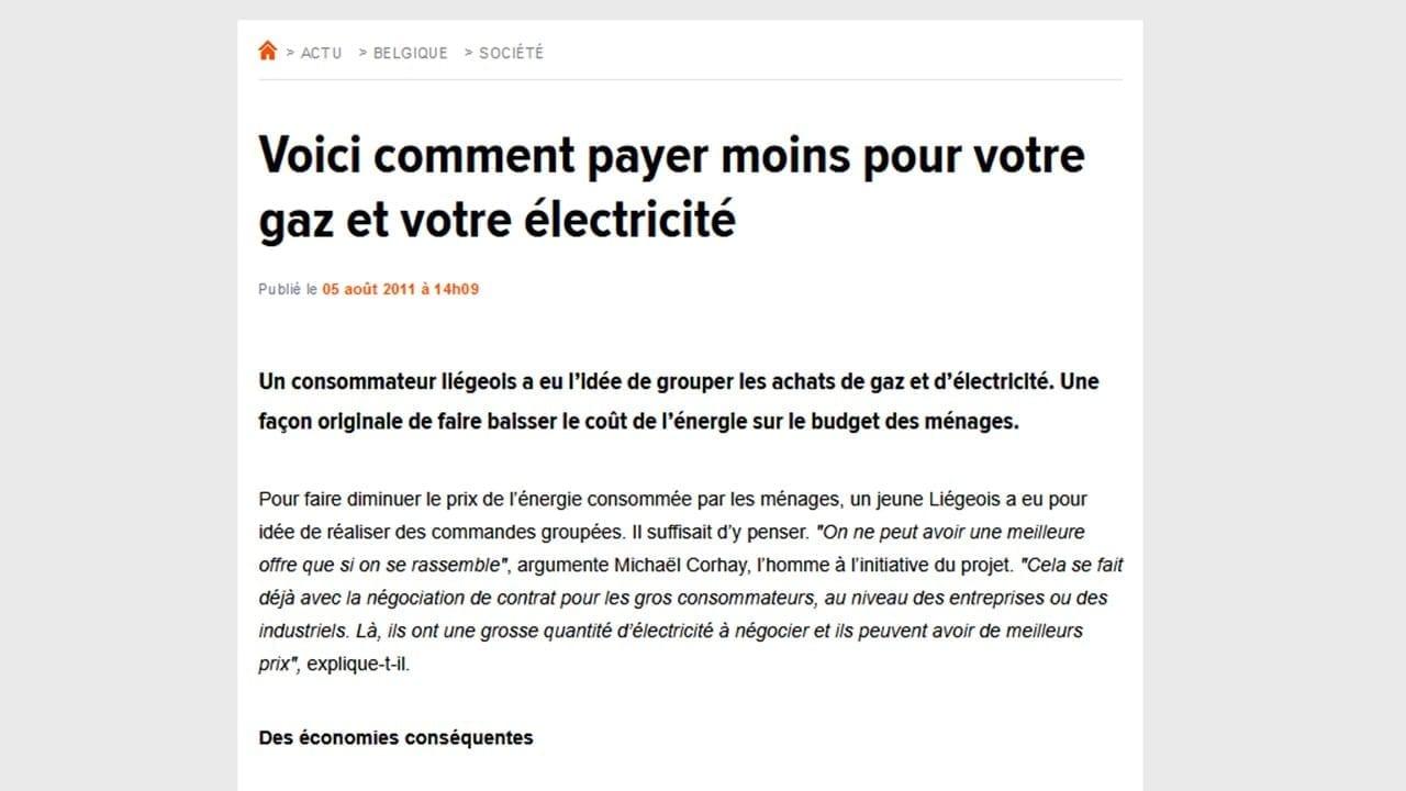 Premier article sur Wikipower par RTL Info