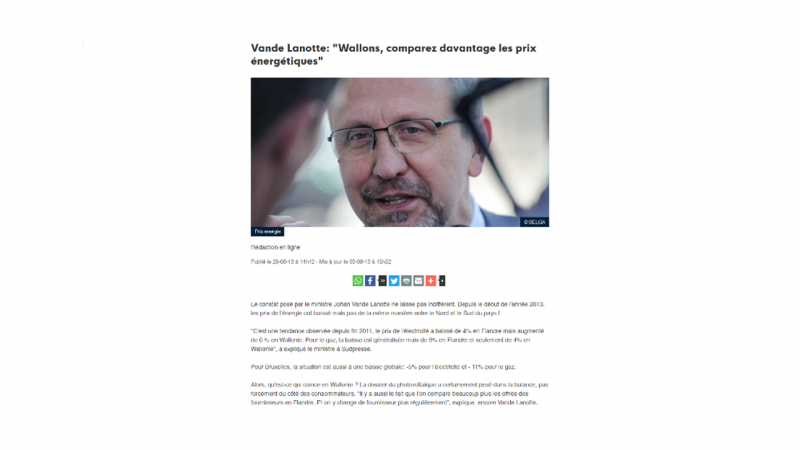 """Vande Lanotte: """"Wallons, comparez davantage les prix énergétiques"""""""